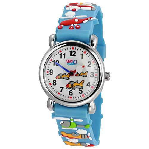 Tee-Wee Reloj de cuarzo para niños con diseño de aviones, 27 mm, correa de caucho, color turquesa UW348T