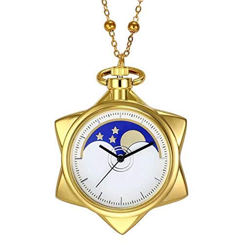 Sailor Moon Fashion Rhinestone Gold Star Cosplay Cuarzo Reloj de bolsillo Niña...