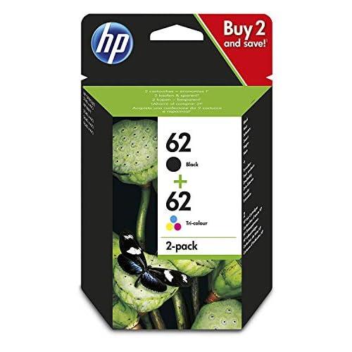 HP 62 N9J71AE Combopack da 2 Cartucce Originali per Stampanti HP a Getto di Inchiostro, Compatibile con HP, Nero/Colore