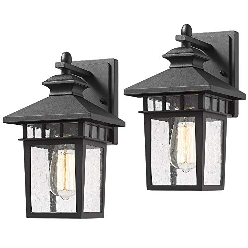Beionxii Outdoor Wall Mount Lights | 2-Pack Exterior Porch Light Fixture, Sanded Black Cast-Aluminum with Seeded Glass, A117W-2PK