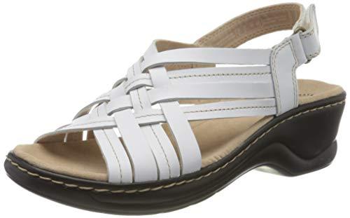 Clarks Lexi Carmen, Sandalias de Talón Abierto Mujer, Blanco (White Leather White Leather), 40 EU