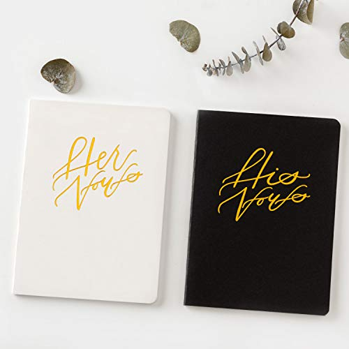 Calculs Wedding His & Her Vows Black & White Paper Cover with Gold Gilding Set of 2 Bridal Shower Gifts