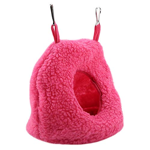 RBSD Schaukelbett, mit 2 Metallhaken Hängekäfig Zelt, Warm Berber Fleece 4 Farben für Pet Bird Hamster Nymphensittiche(Rose red)