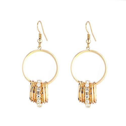 Pendientes de mujer, anillo de cobre con colgante de anillos múltiples estilo bohemio, pendientes de oro de plata con diamantes checos, regalos encantadores y de moda