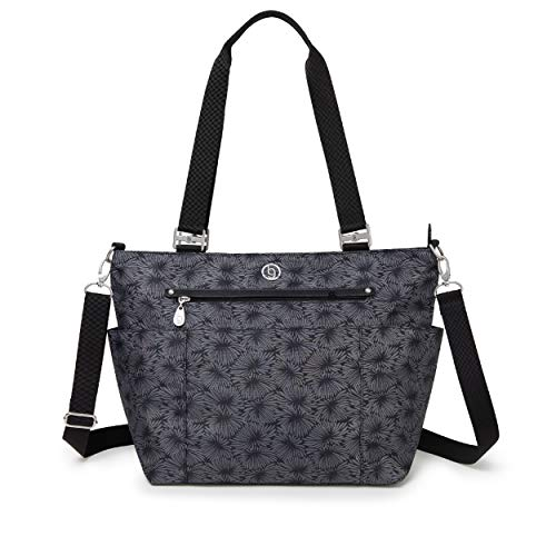 Austin BG by Baggallini Austin Tote - Lightweight, Water Resistant, Carry-On Travel Purse With Zippered Pockets, Adjustable Strap, and Luggage Sleeve, Lunar Bloom Flower Print