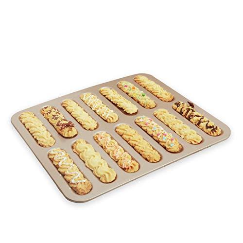 CANDeal Backblech für Eclairs/Löffelbiskuits, 14 Formen Muffin Backforment,Kuchenform, antihaft