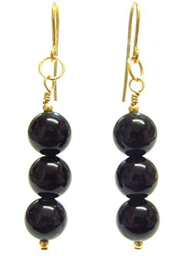 Pendientes de ónix negro, pendientes de oro de 9 quilates, ganchos/gotas, 3 cuentas de piedras preciosas