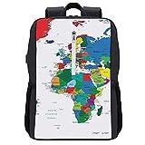 LUDOAN Mochila del viaje, Mapa del mundo Educación Diversión Niños coloridos Geografía Mapa del mundo Países,bolso durable delgado antirrobo del ordenador portátil del negocio con el puerto de carga