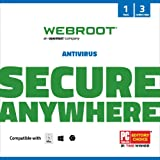Webroot Antivirus Protection and Internet Security Software 2021 - 3 Device, 12 Month Subscription with Auto Renewal (PC/Mac)