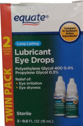 Equate Long Lasting Lubricant Eye Drops TWIN PACK, Compare to Systane