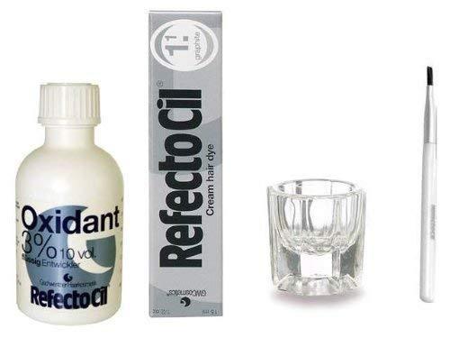 REFECTOCIL COLOR KIT - Graphite Cream Hair Dye + Liquid Oxidant 3% 1.7oz + Brush + Mixing Dish