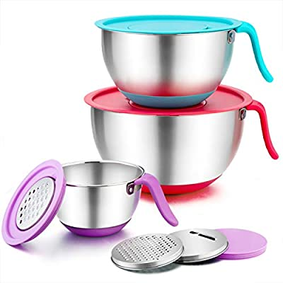 TeamFar Mixing Bowls, 5 / 3 / 1.5 Qt, Stainless Steel Salad Bowl Metal Mixing Bowls with Lids & 3 Graters, Long Handle & Pour Spout, Healthy & Heavy duty, Dishwasher Safe
