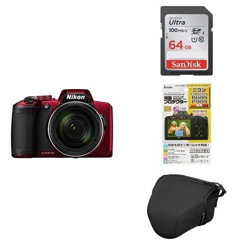 Nikon デジタルカメラ COOLPIX B600 RD 光学60倍 軽量 クールピクス レッド B600RD + アクセサリー3点(SDカード、液晶保護フィルム、カメラケース)