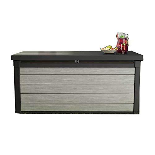 Keter - Denali 150 Gal All Weather Outdoor Storage Deck Box, Grey/Black