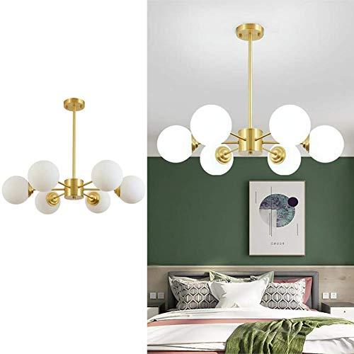 Lámpara de sala de estar de cobre, 6 luces Lámpara de techo molecular moderna Frost Lámpara de globo de vidrio blanco Pantalla de lámpara colgante de dormitorio de oro