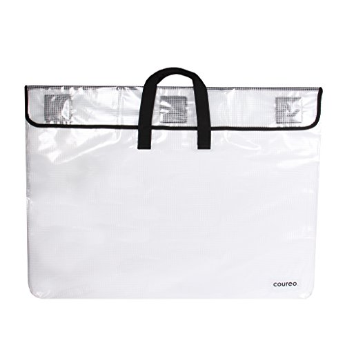 """Coureo Art Portfolio Case 25"""" x 33""""   Waterproof, Lightweight Carrying Bag for Students, Artists, and Professionals   Clear"""