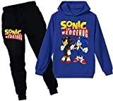Silver Basic Niños Sudadera con Capucha y Pantalones Traje Sonic The Hedgehog Sudadera con Capucha para Niños Juego Disfraz De Sonic Personajes de la Película 120,Azul Sonic Shadow-2