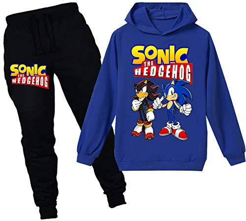 Silver Basic Unisex Fun Jogginganzüge Shadow Sonic The Hedgehog Kinderkleidung Hoodys Freizeit Lange Hosen lustiger Druck Pullover Sets,blau Shadow,130-2