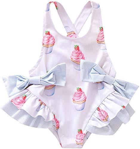 Summer Girl Costume da Bagno Girocollo Senza Maniche Bretelle Bow Cake Holter Summer Girl Costume Intero Beach Seaside Vacation Costume da Bagno per Bambini (Bianca, 18-24 Mesi)