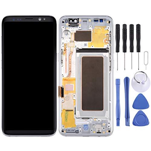Reparatie LCD-scherm + touchpaneel met frame voor Galaxy S8, G950F, G950FD, G950U, G950A, G950P, G950T, G950V, G950R4, G950W, G9500 (zwart), zilver