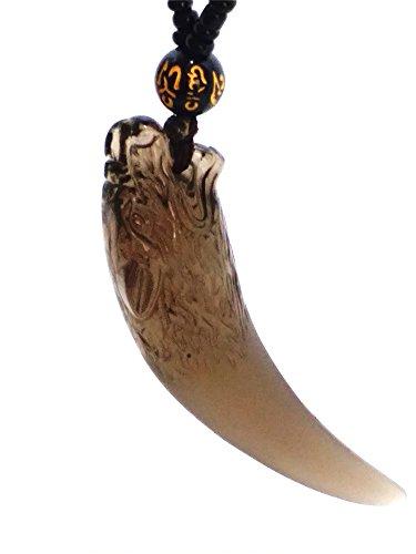 yigedan - Collar con Colgante de Amuleto de la Suerte, diseño de Lobo de Hielo Natural de China