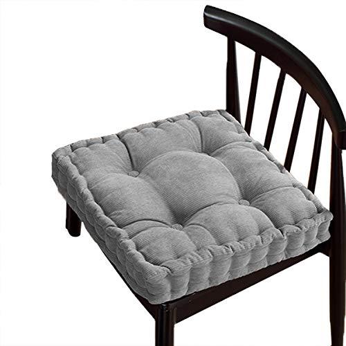 Cojín grueso de algodón para asiento, almohadillas de asiento cómodas, extra firmes, cojín para el suelo, silla de comedor, cocina, patio, silla (45 x 45 cm, gris)