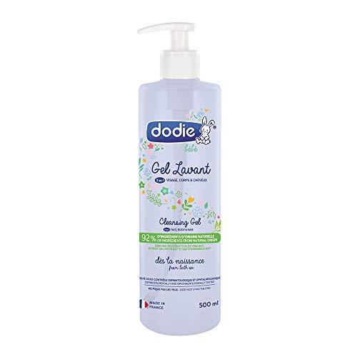 DODIE Gel Lavant 3 en 1 (500 mL) - Nettoyant Visage, Corps et Cheveux - 92% d'ingrédients d'origine naturelle, Hypoallergénique - Dès la naissance