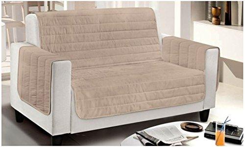 Smartsupershop Housse de fauteuil matelassée, bicolore, crème/beige, dimensions 65 cm (d'accoudoir à accoudoir) – Microfibre – Produit fabriqué en Italie