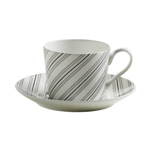 Maxwell & Williams S84002 Art Deco Tasse mit Untertasse, Kaffeetasse, gestreift, in Geschenkbox, Porzellan