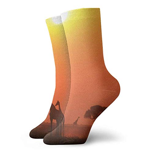 Warm-Breeze Giraffe Tree Compression Socks Unisex Socks Fun Casual Crew Socks Thin Socks Short Ankle For Outdoor Athletic Moisture Wicking