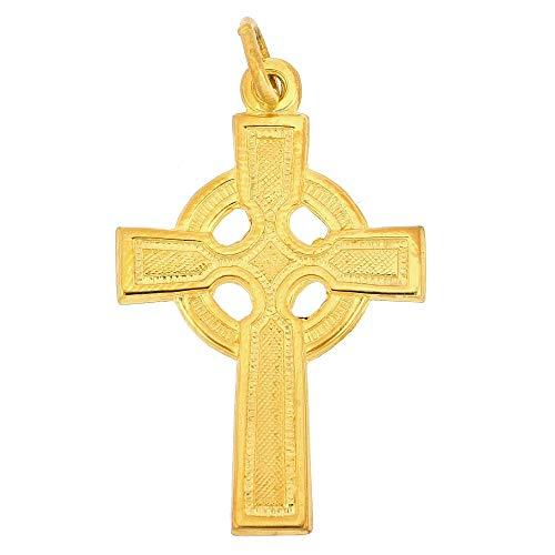 24K Gold Filled 925 Sterling Silver Polished Celtic Cross Pendant; 1' x 1/2'