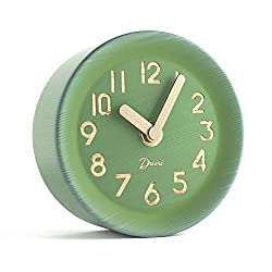 Driini Wooden Desk & Table Analog Clock Made of Genuine Pine - Battery Operated with Precise Silent Sweep Mechanism (Green)