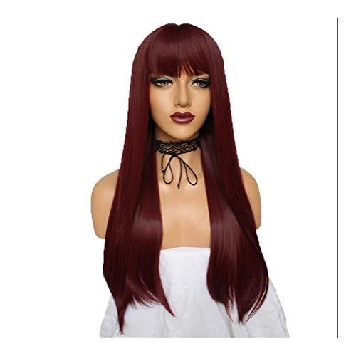 HePing Wu Europäische und amerikanische Wein Perücke weiblichen Qi Liu rot und lange glatte Haare Perücke (Color : Claret)