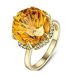Ubestlove Bague Or Jaune Cadeau Pour Femme 19 Ans Diamant Citrine Naturel...