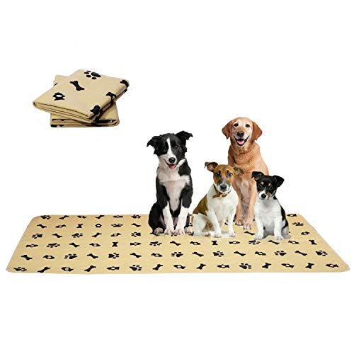 ESWIN Washable Pee Pads for Dogs + Pet Grooming Gloves - Waterproof & Non-Slip Fast Absorbing Puppy Potty Training Pads,Reusable Whelping Pads, Pee Pad for Guinea Pig Cage,Dog Playpen Mat