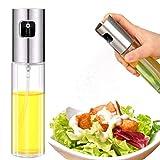 Portable Olive Oil Sprayer 3.4 oz./100ml Mister Glass Refillable Vinegar Sprayer Oil Spray Bottle Dispenser Spritzer for Cooking Salad BBQ Healthy Diet Baking Roasting Grilling (Silver)