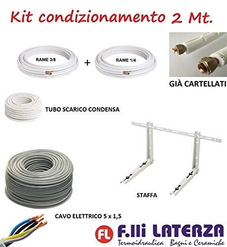 Kit de instalación de aire acondicionado climatizador 2 m tubo cobre 1/4' 3/8' soporte