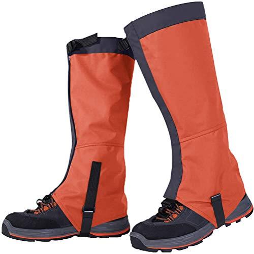 Macabolo, 1 paio di ghette traspiranti per scarponi da neve, impermeabili, ideali per trekking, arrampicata, caccia, escursionismo, passeggiate, Arancione (Arancione), large