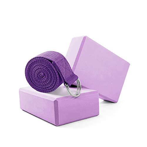 Bloques de espuma para yoga y pilates (2 juegos) con anillas en forma de D, cinturón ligero y antideslizante de alta densidad, para yoga, pilates y meditación, diosa para mejorar la fuerza, la flexibilidad y el equilibrio, b