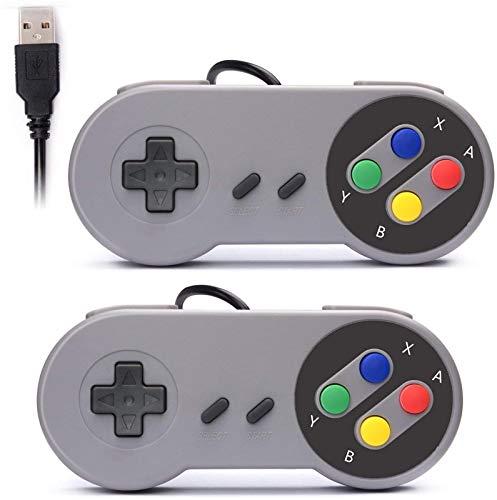 Exquisito Retrok 2X USB Controller for SNES NES Games, Joystick de Gamepad de USB Retro clásico para Windows PC Mac y Raspberry Pi System Gamepad Durable (Color : Default)