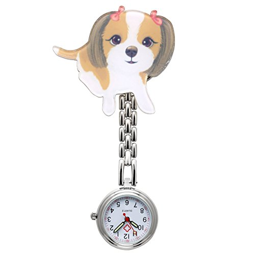 JSDDE Uhren,Krankenschwester FOB Uhr Pflegeruhr Pulsuhr Ketteuhr Schwesternuhr Quarz Taschenuhr,Cartoon Hund