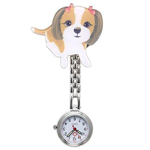 JSDDE Uhren Krankenschwesteruhr FOB Uhr Pulsuhr Brosche Tier Cartoon Form Taschenuhr Pflegeruhr Schwesternuhren Ketteuhr Quarz Ansteckuhr (Cartoon Hund)