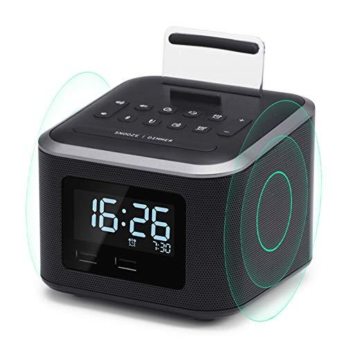 DZHTWSRYGR Cargador inalámbrico Altavoz portátil con Puerto de Carga USB/Entrada Auxiliar y Soporte para teléfono móvil/Reloj Despertador Digital Radio Altavoz inalámbrico Bluetooth