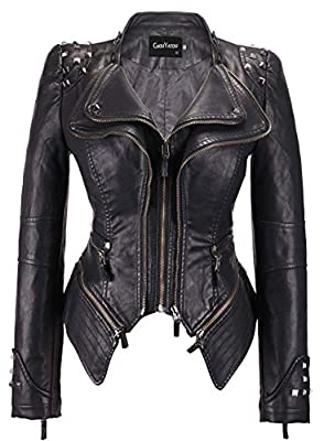 chouyatou Women's Fashion Studded Perfectly Shaping Faux Leather Biker Jacket (Large, Black)