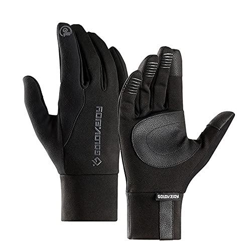 Liadance Invierno Guantes Caliente Impermeable de la Pantalla táctil del Dedo Lleno Guantes Antideslizantes Negro de la Motocicleta Pesca (XL)