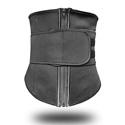 ZCJUX S-4XL Cinturón abdominal 7 Acero deshuesado Cremallera de alta compresión Neopreno Cintura Cincher Sauna Corset Sudor Cintura Entrenador Body Shaper (Color : Black, Size : XXX-Large)