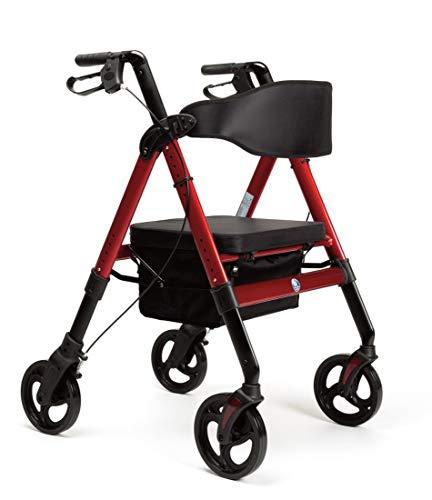 FabaCare XXL Rollator Goliat, höhenverstellbar, faltbar, mit Sitz und Rückenlehne, Tasche, Gehwagen, Rollwagen, bis 200 kg, Farbe Rot