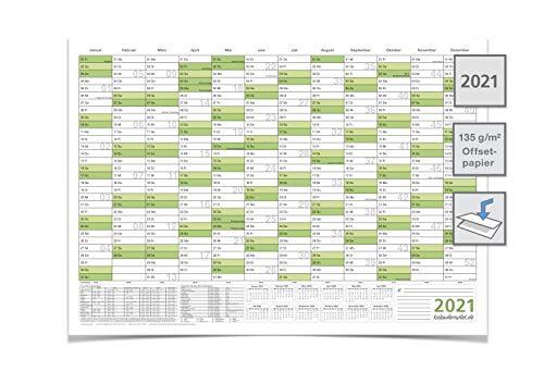 Wandkalender | Jahresplaner 2021 mit Ferien DIN A2 grün 59,4 x 42,0 cm gefaltet mittelgroß