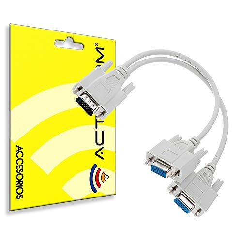 actecom® Adaptador Cable DUPLICADOR Splitter VGA Macho A 2 Hembra Video Monitor...
