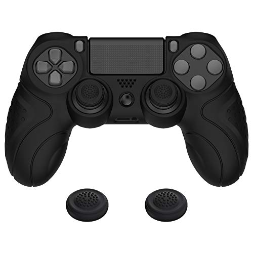 PlayVital Guardian Edition Black Ergonomic Soft Anti-Slip Controller Silicone Case Cover for Playstation 4, Rubber Protector Skin with Joystick Caps for PS4 Slim for PS4 Pro Controller